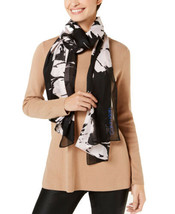 Calvin Klein Satin Stripe Chiffon Scarf (Black, One Size) - $29.62