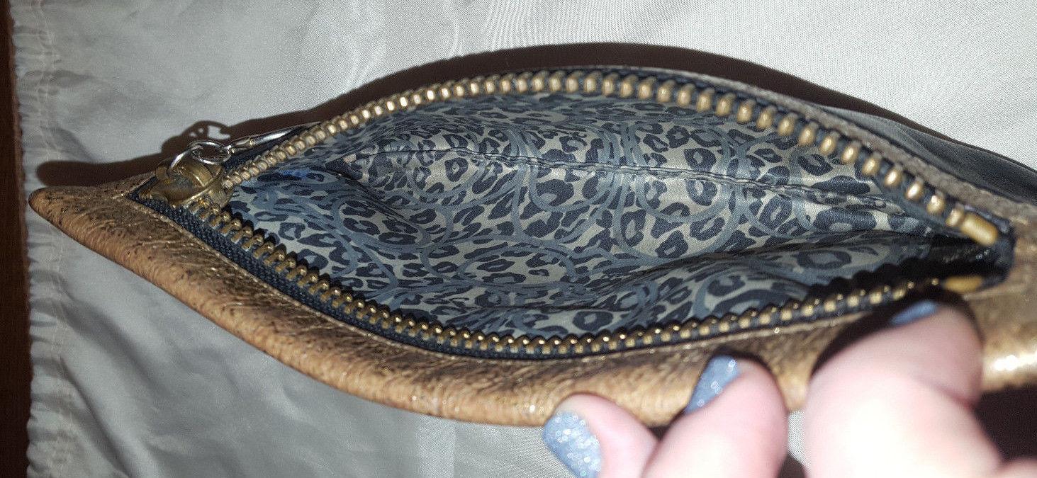 Coach Poppy Josie Clutch black licorice & gold metallic leather pouch 42856