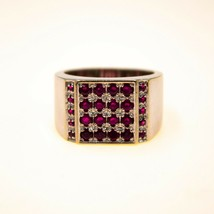 18k Mens Gold Ruby Ring UK Vintage Statement Pinky ring Size P BHS - $956.32