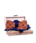 Men Wood Bow Ties Dog Printed Vintage Pocket Square Cuff Links With Box Set - $19.94