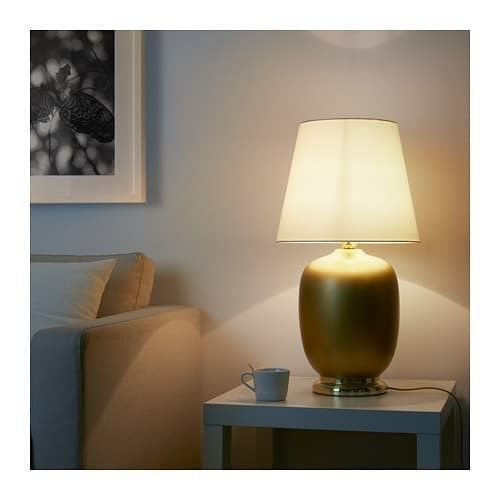 IKEA SKAFT Table lamp with LED bulb, ceramic brass color, white 28""