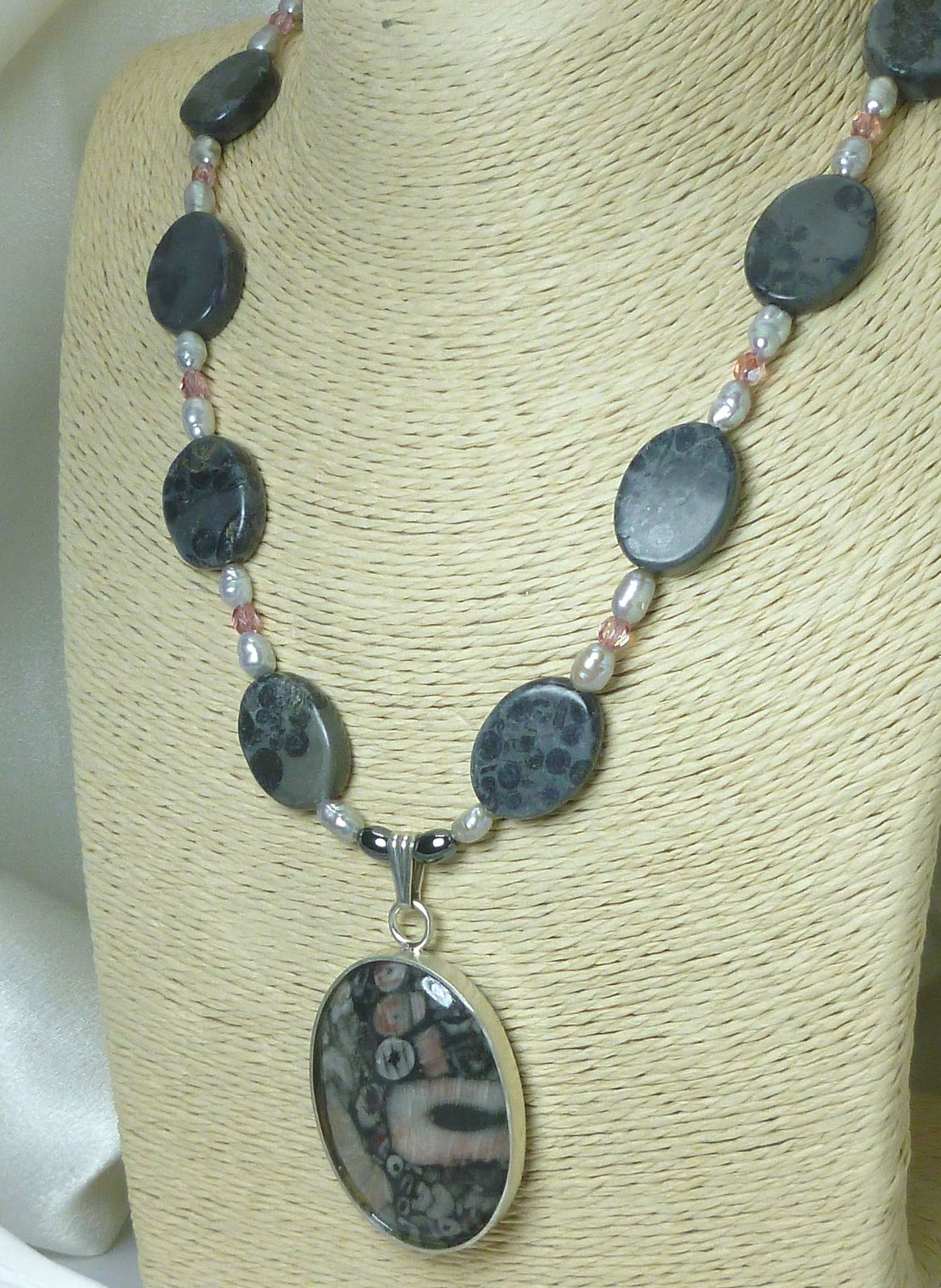 Fossil Rock Sterling Pendant Freshwater Pearl Jasper Necklace
