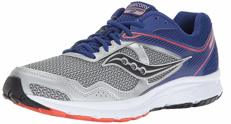 Saucony Uomo Argento Blu Griglia Cohesion 10 Corsa Runners Scarpe Sneaker Nib
