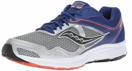 Saucony Uomo Argento Blu Griglia Cohesion 10 Corsa Runners Scarpe Sneaker Nib image 1