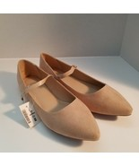 Wild Diva Pippa-162 Faux Suede Pointy Toe Mary Jane Flats Shoes Natural ... - $21.95