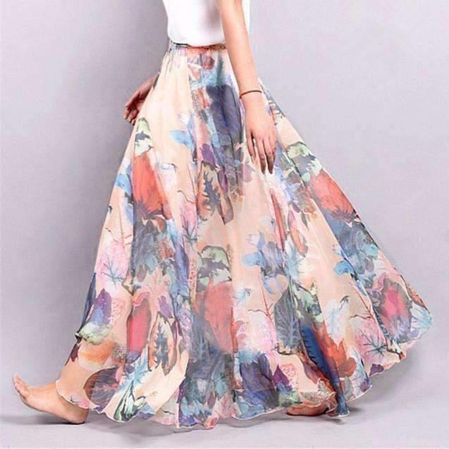 R less maxi skirt orange one size bohemian floral chiffon pleated women maxi skirt 1416593768479