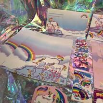 ⚡️SALE  Markie The Unicorn Lisa Frank Stationery Lot  Postalettes Stickers image 2
