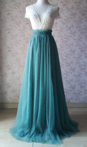 MISTY GREEN Full Long Tulle Skirt Misty Green Floor Length Bridesmaid Skirt image 1