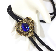 Bolo Tie, Ornate Heart, Blue Cabochon, Gold Tone, Made in USA, 1980's, S... - $20.00