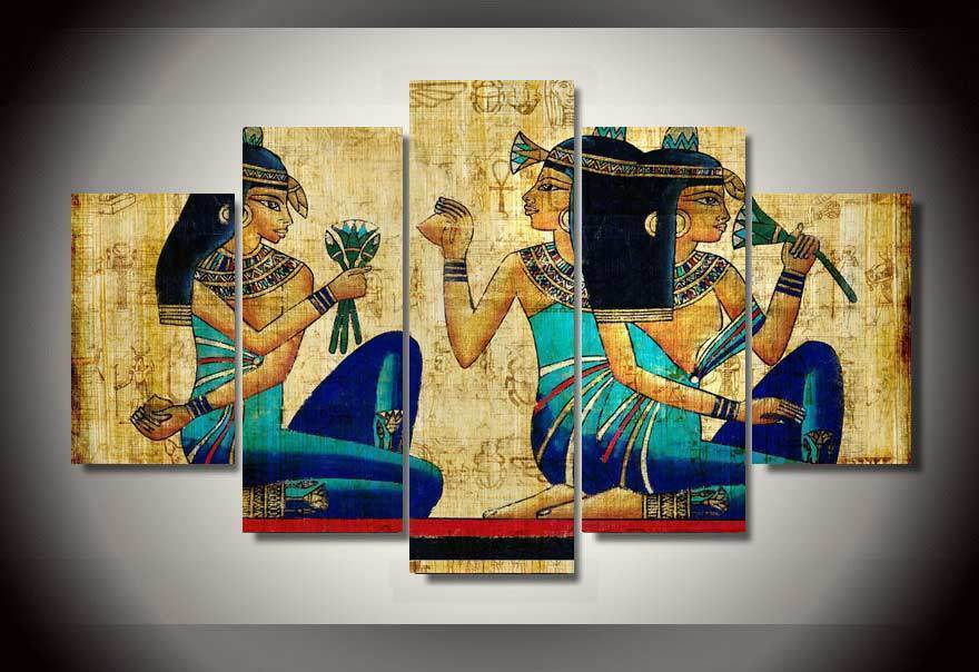Large Framed Ancient Egypt Art Canvas Print Wall Art Home 5 Piece