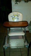 Vintage  Metal Vinyl High Chair Booster Seat W/ Table 1960's?? RUSTY Fai... - $128.69