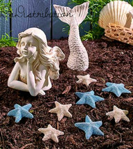 Coastal Garden Decor Mermaid Statue Starfish Stones Cold Cast Ceramic Be... - $7.99+