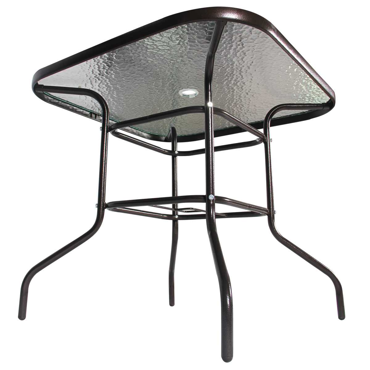 "32""x32""Outdoor Dining Bistro Table Tempered Glass Top Umbrella Stand Patio Squar"