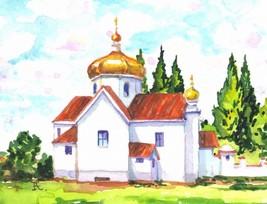 """Akimova: CHURCH, landscape, winter, watercolor, 3.75""""x3"""" - $5.00"""