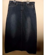 Distressed Stretch Denim Jean Skirt Sz 9/10 Womens Blue Cotton Spandex N... - $22.49