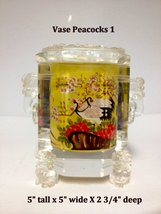 Inside Painted Crystal Vase - Peacocks - $129.95