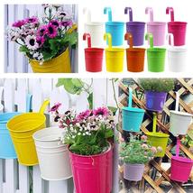 Metal Bucket Flower Pot Wall Hook Hanging Balcony Garden Pot Plant Flowe... - $4.56+