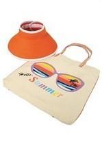 2-piece Orange Sun Hat & Tan Cotton Twill Hello Summer Beach Tote Set - $24.74