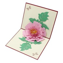 3D Pop Up Greeting Card Peony Birthday Valentine Easter Flower Mother Th... - $2.92