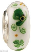 New Fenton Art Glass Jewelry Bead Wee Bit Irish Sterling Silver Core Cha... - $35.00