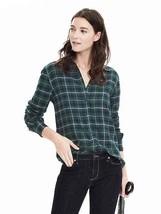 Banana Republic Dillon-Fit Ruffle Cuff Flannel Shirt , Green Plaid, size XL, NWT - $50.00