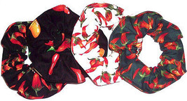 Hair Scrunchie Red Hot Chili Peppers Ties Ponytail Holders Scrunchies by Sherry - $6.99+