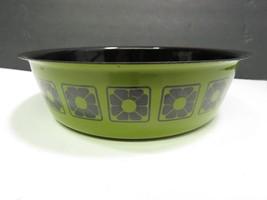 "Vintage MCM Mid Century green Black Enamel Serving Bowl Flowers 8.25"" - $29.70"