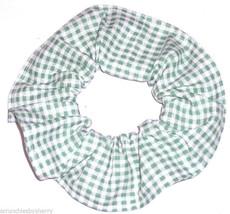 Green White Gingham Tiny Checks Fabric Hair Scrunchie Scrunchies by Sherry - $6.99