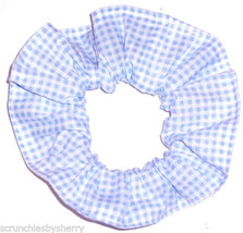 Blue White Gingham Small Checks Fabric Hair Scrunchie Scrunchies by Sherry - $6.99
