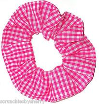 Pink White Gingham Checks Fabric Hair Scrunchie Scrunchies by Sherry - $6.99