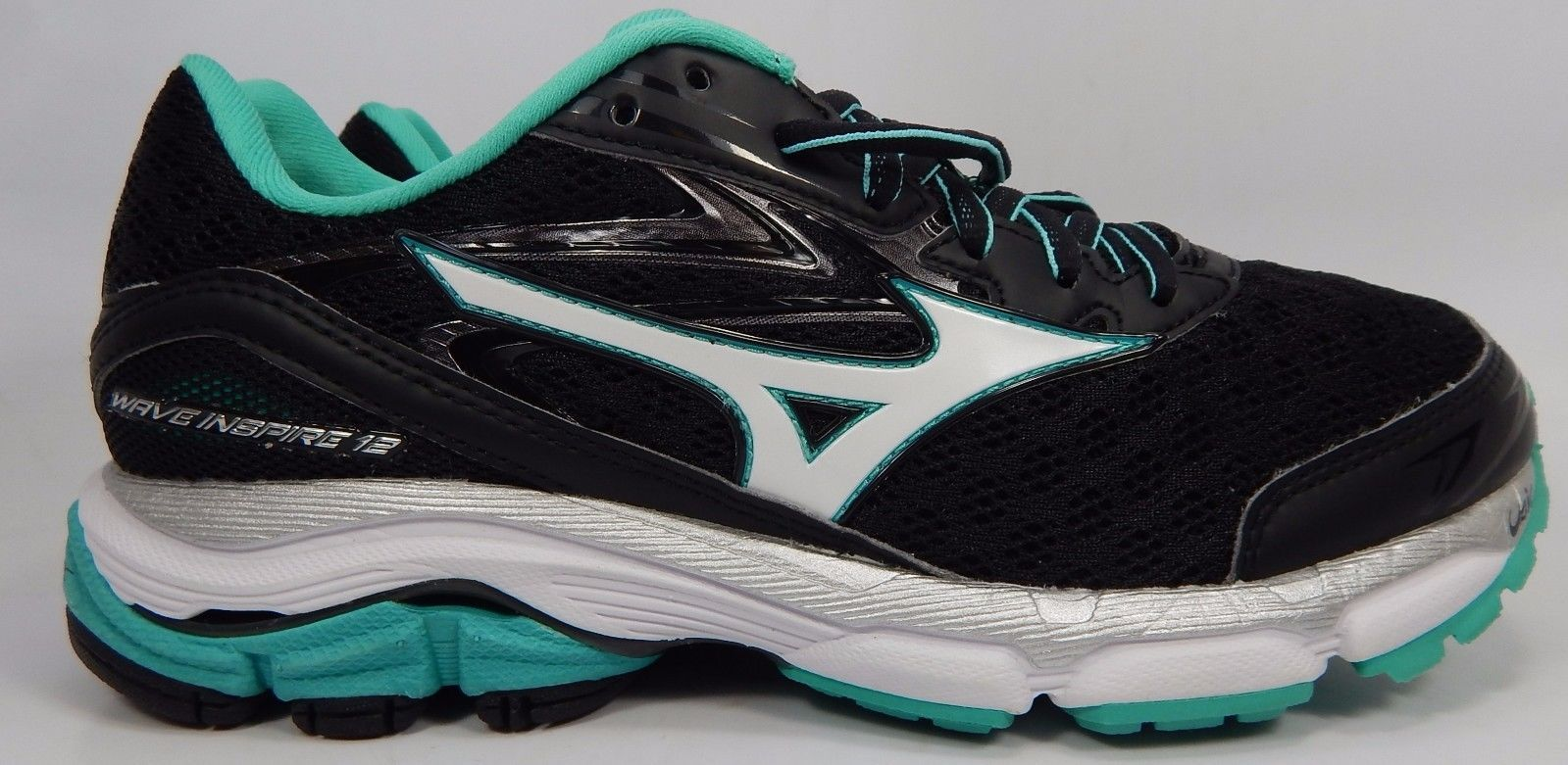 Mizuno Wave Inspire 12 Women's Running Shoes Size US 7 M (B) EU 37 Black Green