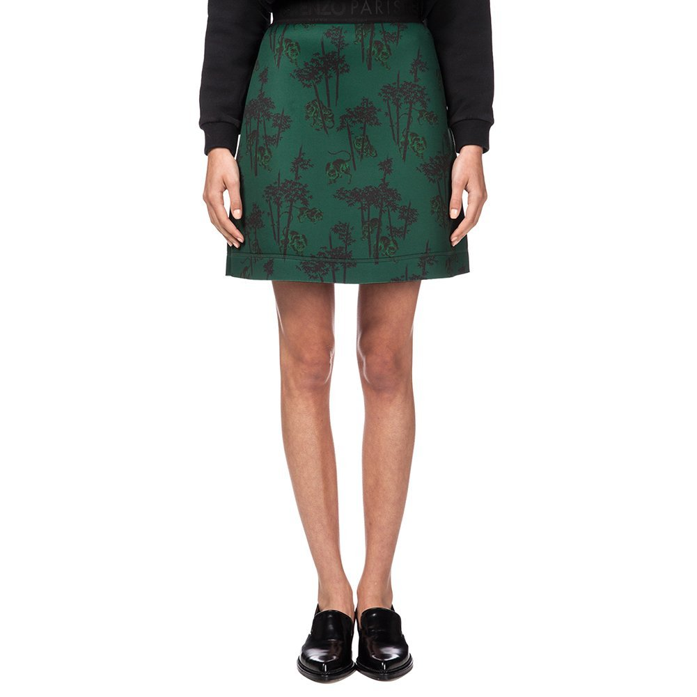 Kenzo Women's Bamboo Tiger Neoprene Skirt F561JU734942-55 Green SZ M