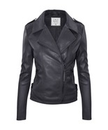 Gray Faux Leather Jacket, Gray Moto Jacket, Gray Leather Jacket, Womens, Cielo - $74.99