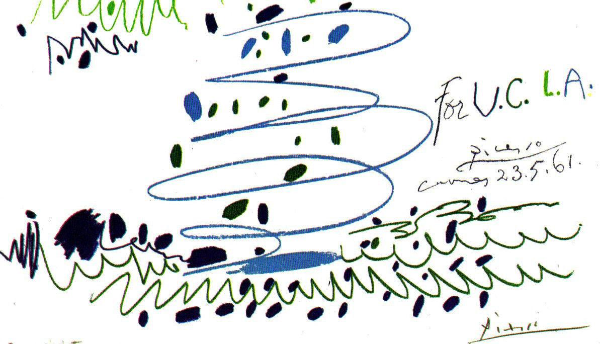 PICASSO LITHOGRAPH 1964 w/COA. Pablo Picasso U.C.L.A. unique Picasso $ Rare Art