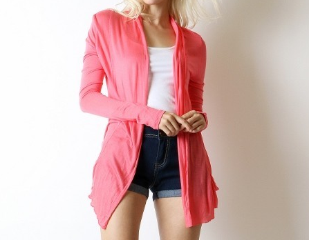 Bright Coral Open Front Flyaway Cardigan, Lightweight Rayon Layering Sweater