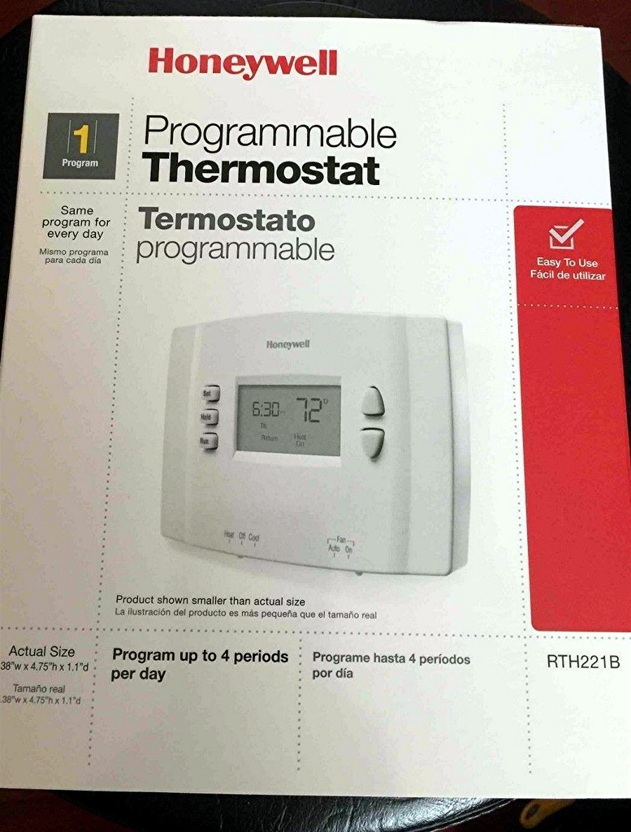 Honeywell RTH221B One-week Programmable Heating and Cooling Thermostat -  $17.00