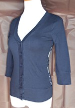 Navy Lace Back Cardigan, Slim Fit 3/4 Sleeve, Cotton Casual, Work, Everyday