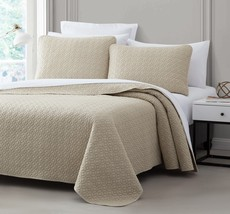Titan 3pc Quilted Bedspread Set Tan Stitched pattern 100% Cotton Filling Bed - $46.44 - $56.89