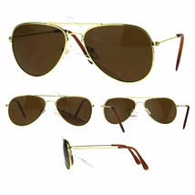 Boys Brown Lens Classic Pilots Metal Wire Rim Sunglasses Gold Frame - $9.95