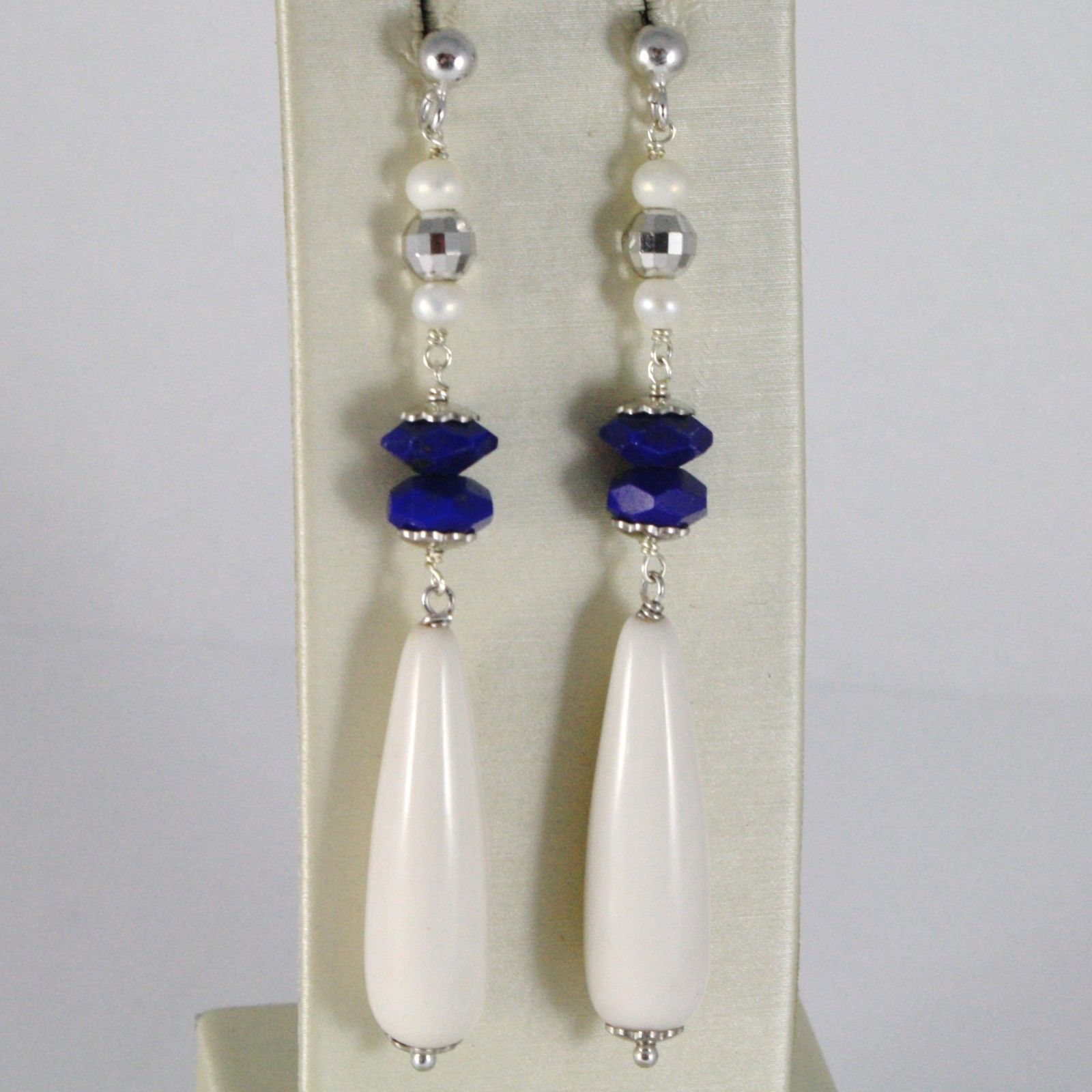 EARRINGS SILVER 925 RHODIUM WITH LAPIS LAZULI BLUE AND DROPS OF RESIN BEIGE