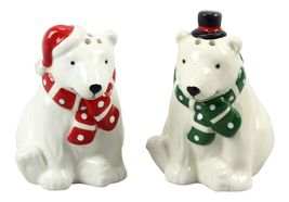 Polar Bears in Hats and Scarves Salt and Pepper Shaker Set - £21.69 GBP