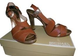 Michael Kors Shoes NIB 10 $129 Value  Brown Open Toe Gold Heel - $49.00