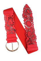 Red Daisy Cutout Wide Stretch Belt, Adjustable Floral Layering Belt, Elastic