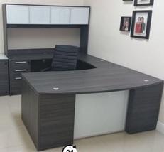 Chiarezza U-Shaped Bow Front Desk w/Glass Mades... - $2,299.99