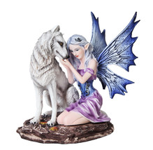 Fairy With White Wolf Statue Home Decor Twilight Collectible Lobo Ada - $44.06
