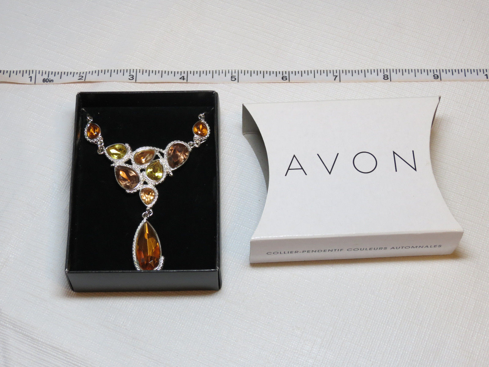 Ladies Womens Avon Autumn Colors Drop Necklace silvertone F3771111 NIP;; - $29.69