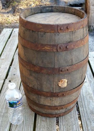 Primitive Small 6 Steel Banded Oak Wood Gun Powder Barrel Keg Frederick Maryland