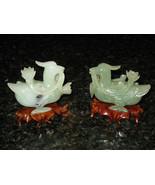 Antique Apple Jade Duck Figurines, Pair, on Teak Bases - $650.00