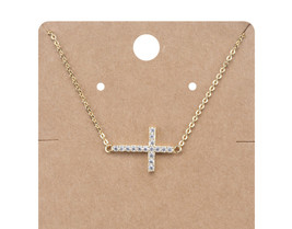 INSPIRATIONAL 18kt Gold Plated CZ Crystals CROSS Pendant Petite Dainty N... - €13,62 EUR