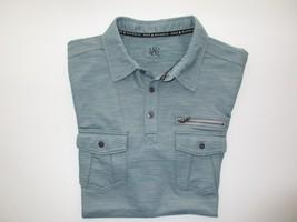 Rock & Republic Textured Cotton Short SLV Men Western Polo T-Shirt Silve... - $21.43